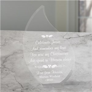 Personalized Christmas In Heaven Memorial Tear Keepsake | Memorial Gifts