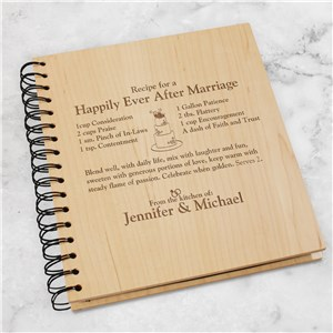 Engraved Happily Ever After Recipe Card Holder | Personalized Couple Gifts