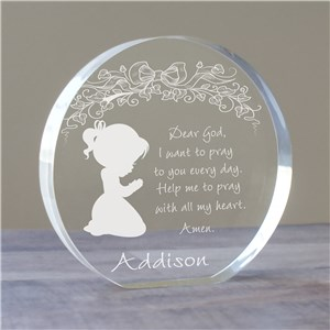 Engraved Girl's Prayer Keepsake | Personalized Christian Gifts
