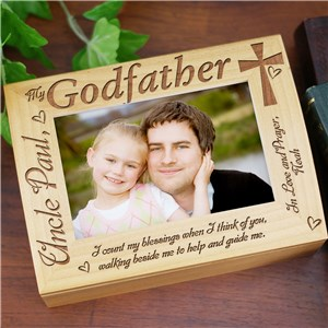 Engraved Godparent Wood Photo Keepsake Box | Personalized Baptism Gifts