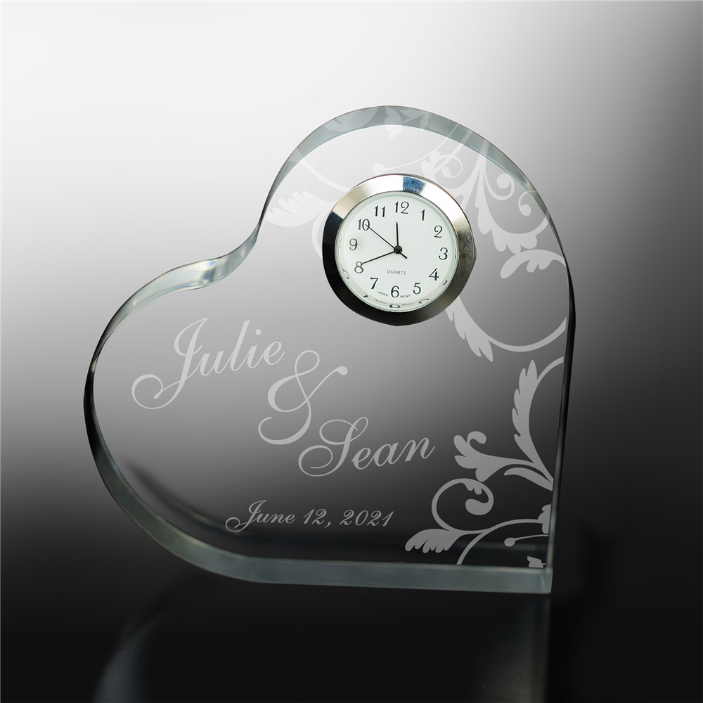 Engraved Couples Heart Clock Keepsake 732792