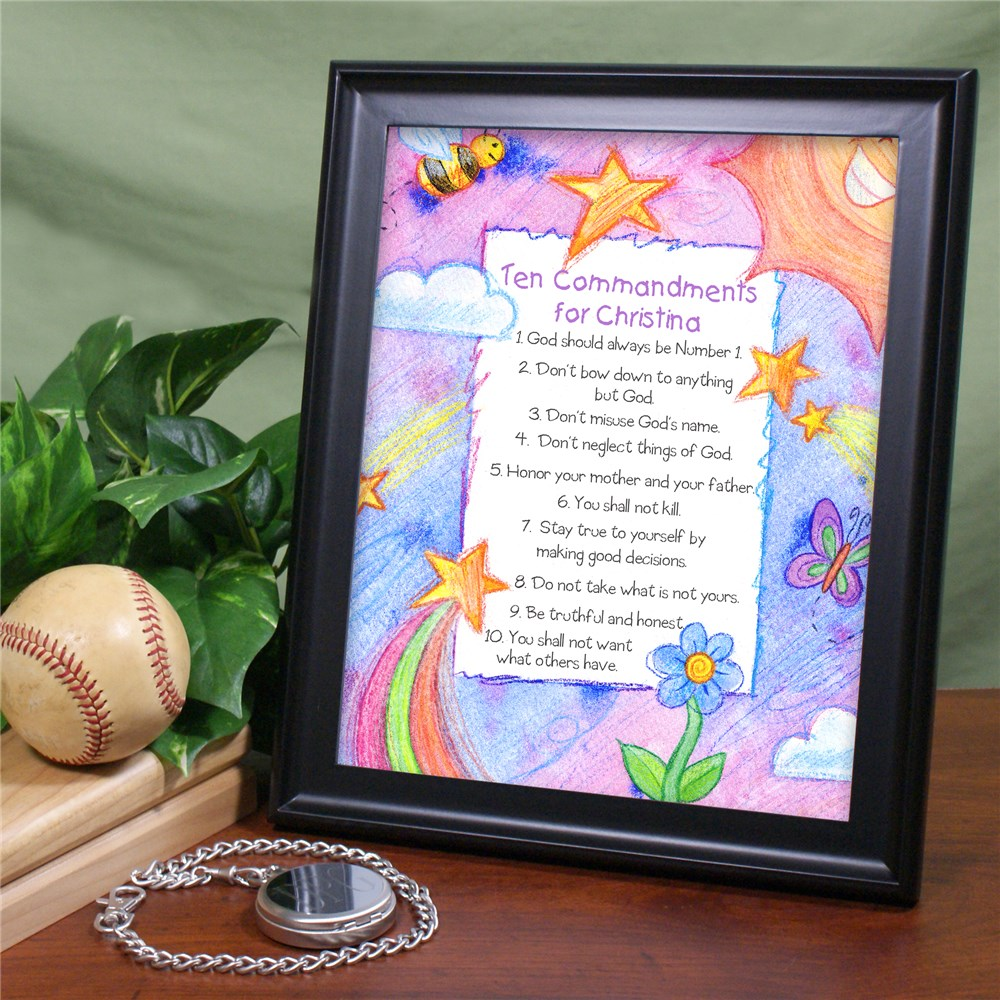 Personalized 10 Commandments Wall Plaque | Religious Baby Decor