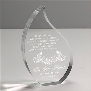 Engraved In Our Hearts Memorial Tear Keepsake | In Memory Of Gifts