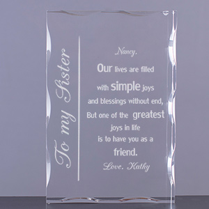 To My Sister Keepsake Block | Personalized Sister Gifts