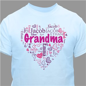 Grandma's Heart Word Art T-Shirt | Personalized Grandma TShirts