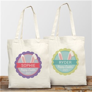 Easter Bunny Ears Personalized Tote Bag