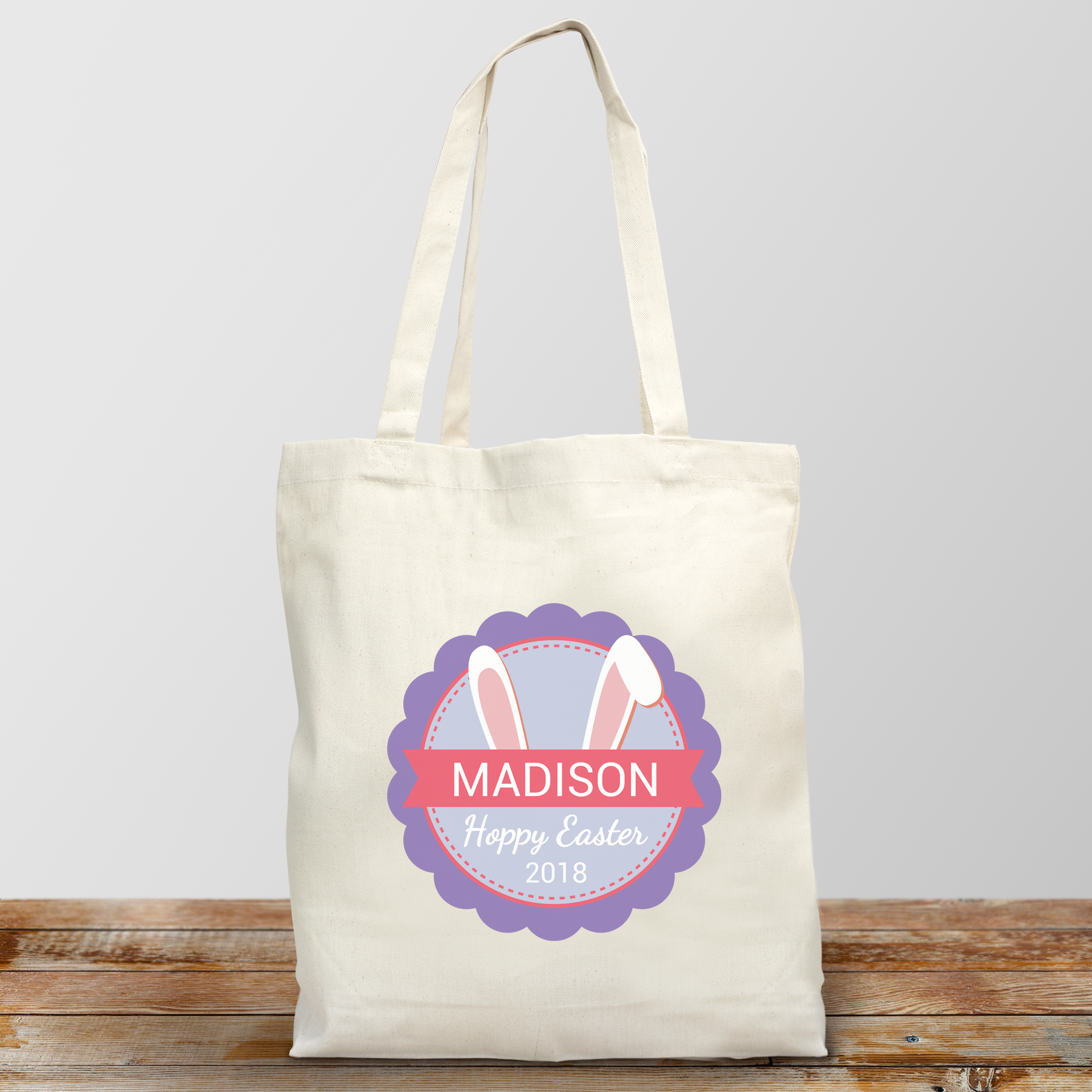 Bunny Ears Personalized Tote Bag | Personalized Easter Baskets