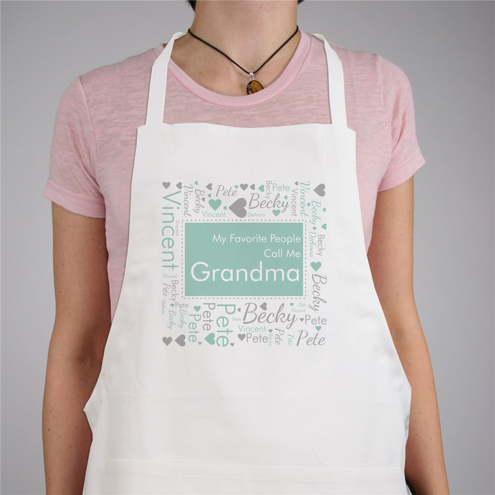 Personalized Favorite People Word-Art Apron | Personalized Gifts for Grandma