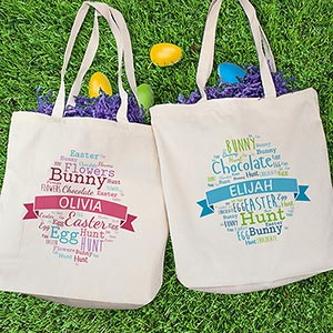 Personalized Easter Egg Word-Art Tote Bag