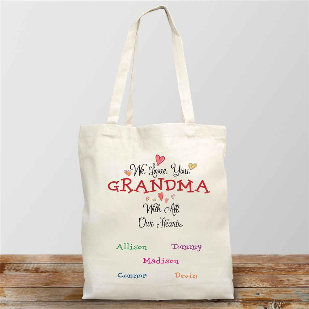 Personalized With All Our Heart Tote | Personalized Gifts For Grandma