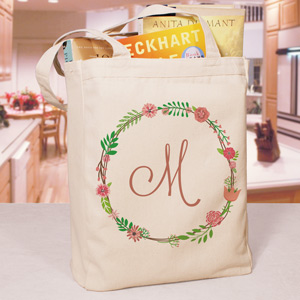 Personalized Single Initial Floral Tote Bag