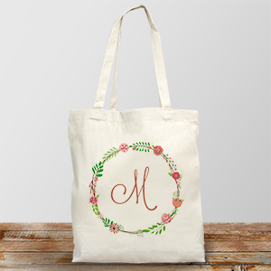 Personalized Single Initial Floral Tote | Personalized Canvas Totes
