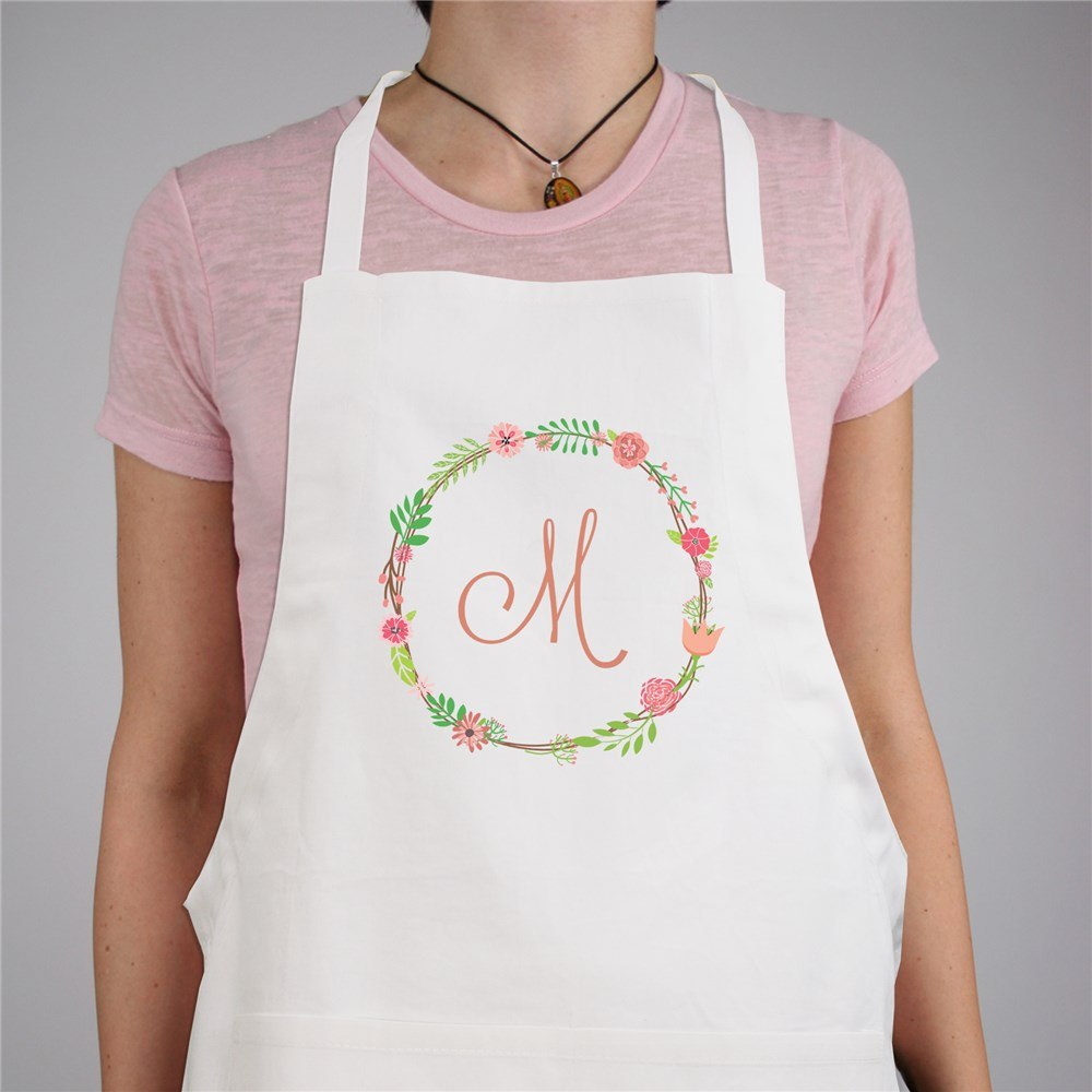 Personalized Single Initial Floral Apron | Personalized Grandma Gifts