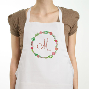 Personalized Single Initial Floral Apron