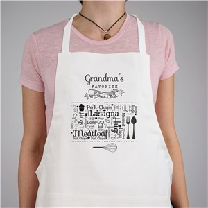 Personalized Favorite Recipes Word-Art Apron | Personalized Gifts For Grandma