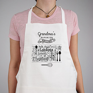 Personalized Favorite Recipes Word-Art Apron