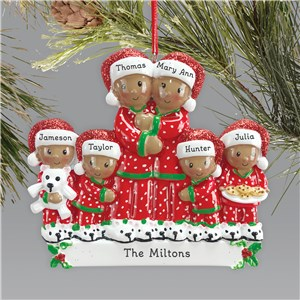 Pajama Family Ornament | African American Family Ornament