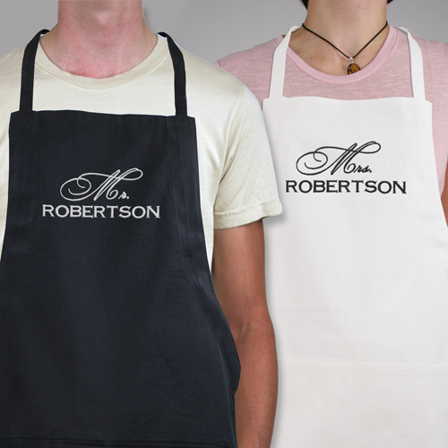 Embroidered Mr & Mrs. Apron Set | Personalized Aprons