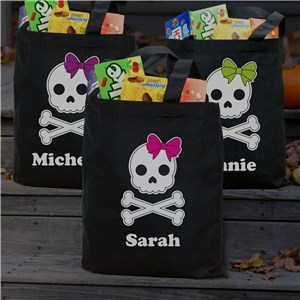 Personalized Skeleton Girl Black Tote | Personalized Halloween Totes
