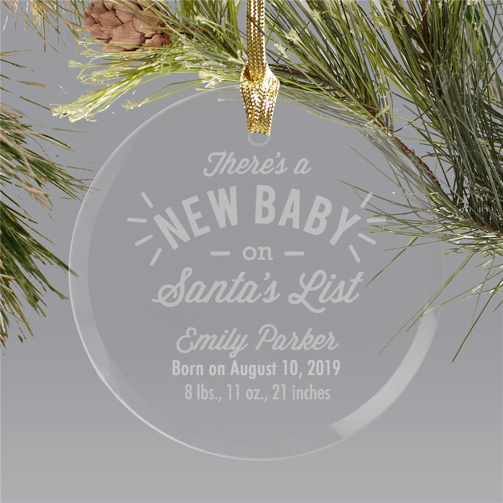 Engraved New Baby Round Glass Ornament | Personalized New Baby Ornament
