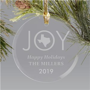 Engraved State Round Glass Ornament | Customized Christmas Ornaments