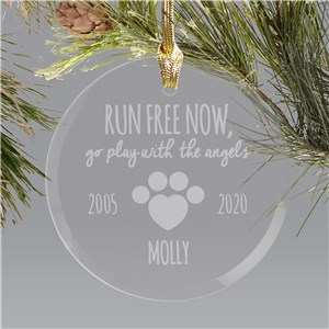 Engraved Pet Memorial Round Glass Ornament | Pet Memorial Ornament