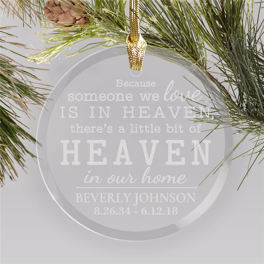 Engraved Memorial Round Glass Ornament | Memorial Ornaments