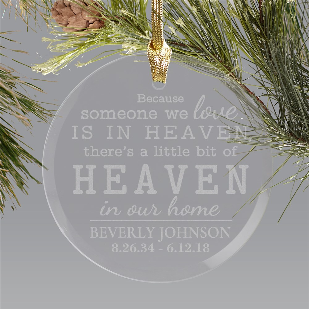 Round Glass Engraved Memorial Christmas Ornament | Memorial Ornaments
