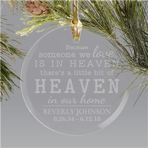 Round Glass Engraved Memorial Christmas Ornament