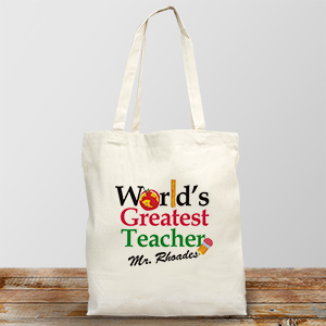 World's Greatest Teacher Personalized Canvas Tote Bag | Personalized Teacher Gifts