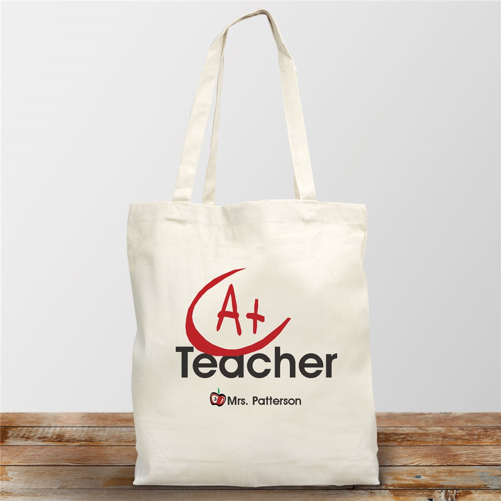 A+ Teacher Personalized Canvas Tote Bag | Personalized Teacher Gifts