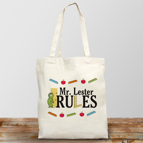 My Teacher Rules Personalized Canvas Tote Bag
