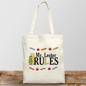 My Teacher Rules Personalized Canvas Tote Bag | Personalized Teacher Gifts