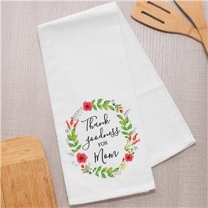 Personalized Thank Goodness For Mom Dish Towel | Personalized Gifts For Mom