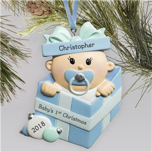 Personalized Special Delivery Boy Ornament | Personalized Baby's First Christmas Ornament
