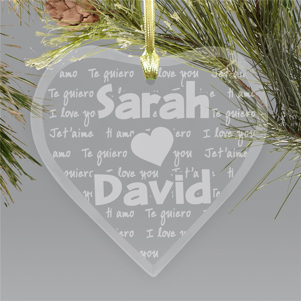 Engraved I Love You Glass Heart Ornament | Personalized Couples Ornaments