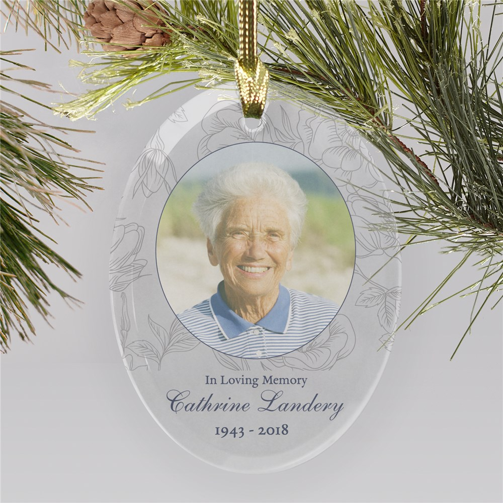 Customized Floral Photo Memorial Ornament | Photo Memorial Ornaments