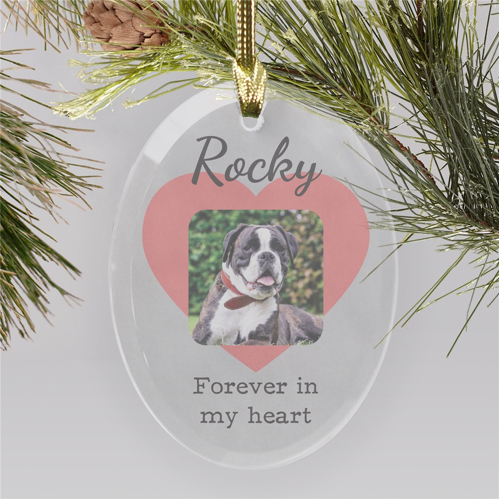 Heart Photo Memorial Glass Ornament | Pet Memorial Ornaments