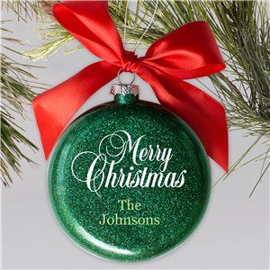 Personalized Merry Christmas Glass Ornament | Glitter Christmas Ornaments