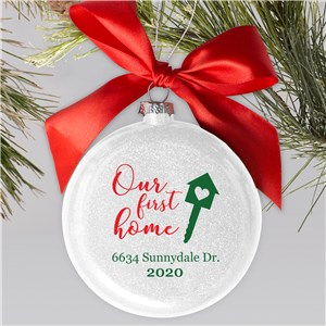 Personalized Our First Home Glass Ornament | Personalized New Home Ornaments