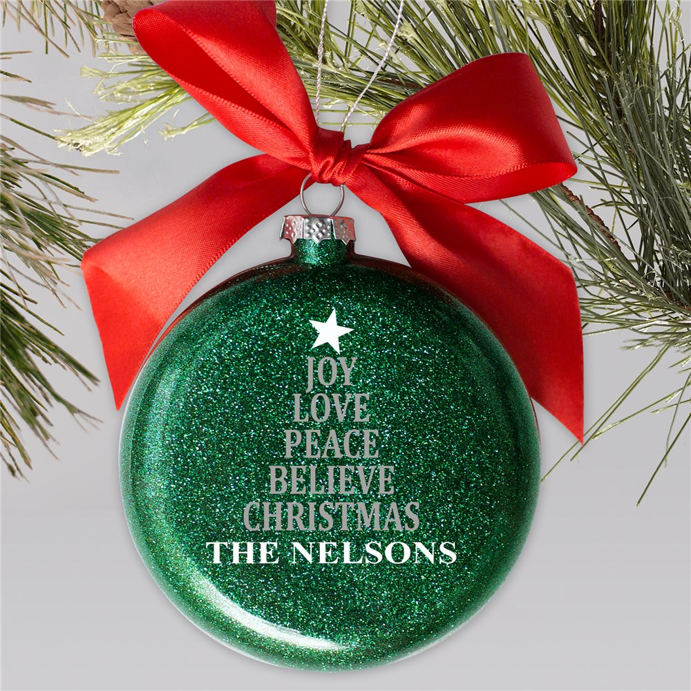 Personalized Joy Love Peace Believe Glass Ornament | Personalized Christmas Ornaments