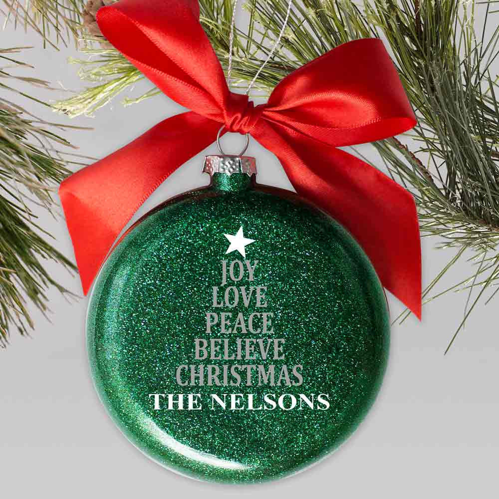 Joy Love Peace Believe Red & Green Ornament | Personalized Christmas Ornaments