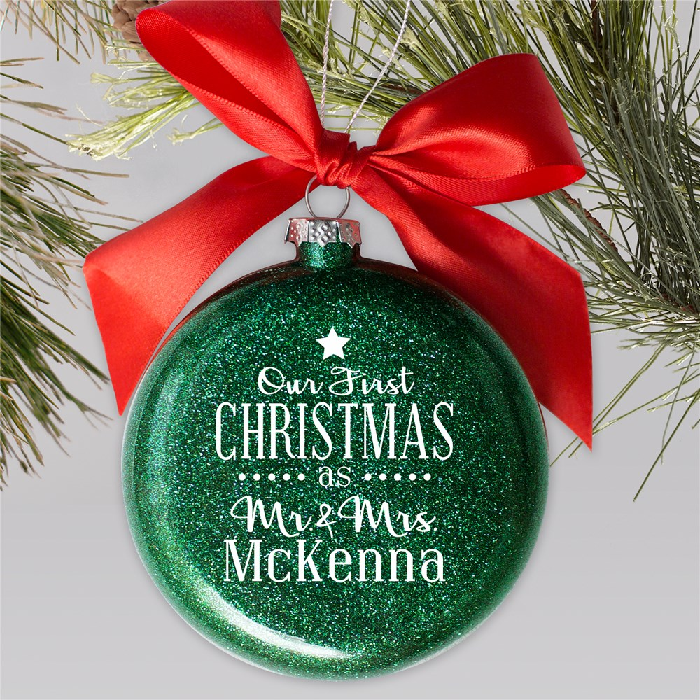 Personalized Our First Christmas Glass Ornament | Personalized Couples Ornaments