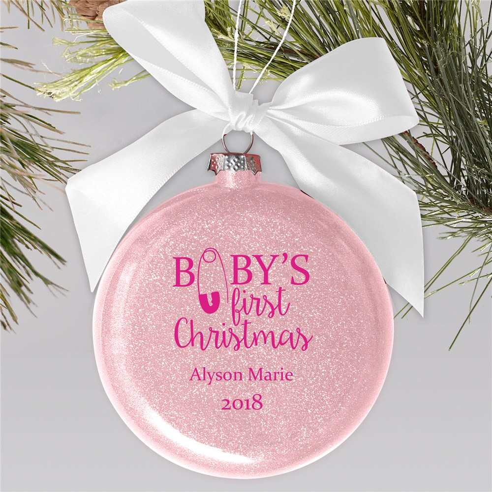 Personalized Babys First Christmas Glass Ornament | Personalized Baby's First Christmas Ornaments