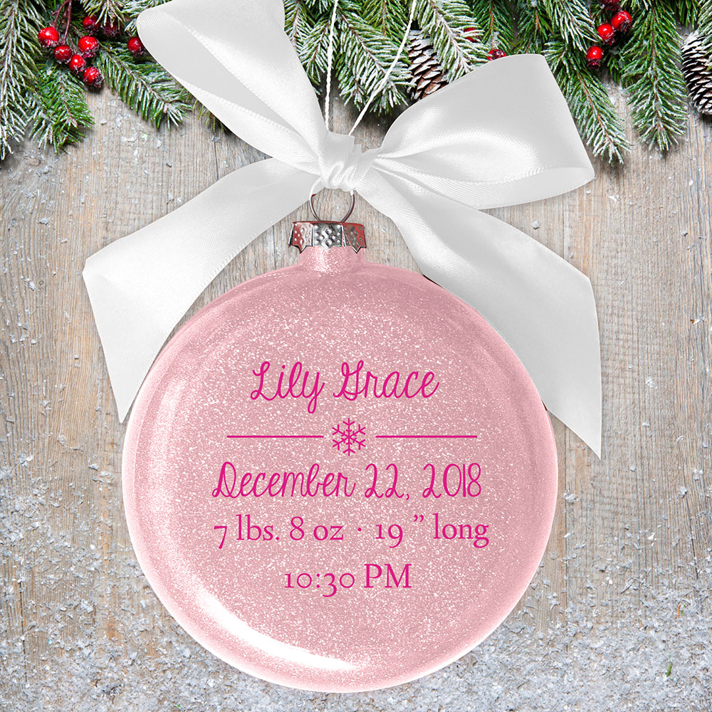 Personalized Baby Snowflake Glass Ornament | Personalized Baby Ornaments
