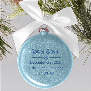 Baby Snowflake Glass Personalized Ornament | Personalized Baby Ornaments