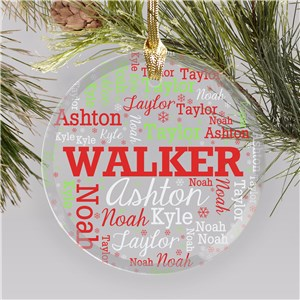 Personalized Family Word-Art Round Glass Ornament | Personalized Family Ornaments