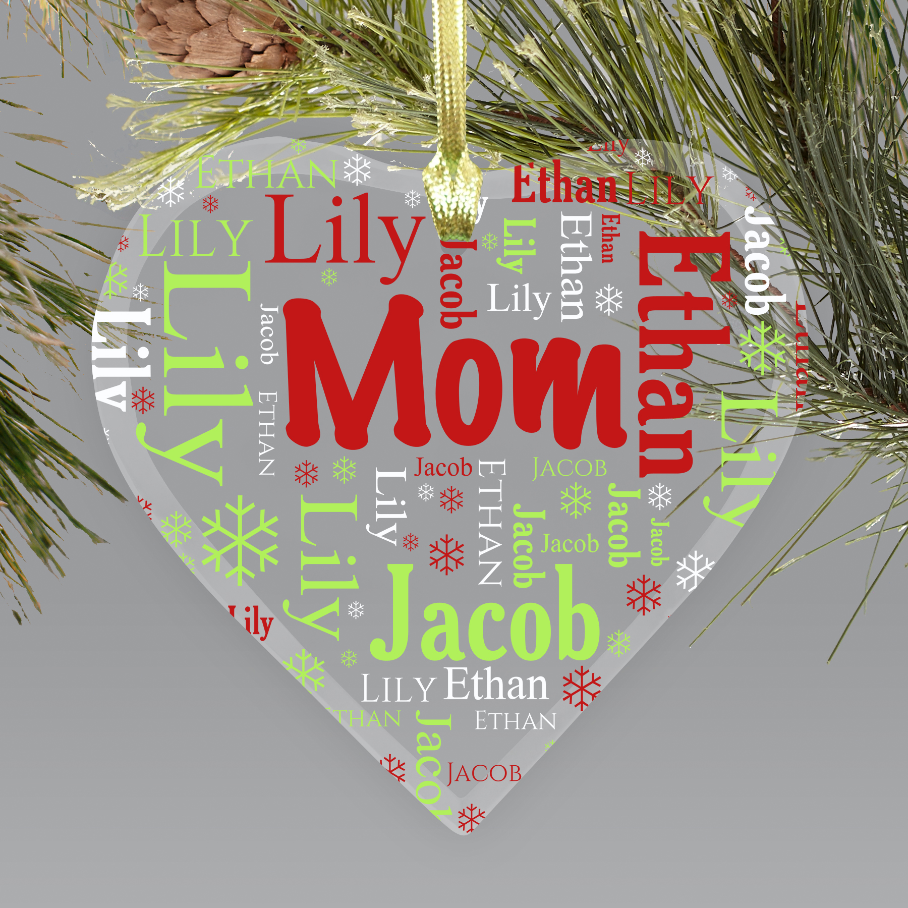 Personalized Grandmas Heart Word-Art Ornament | Personalized Grandparent Ornaments