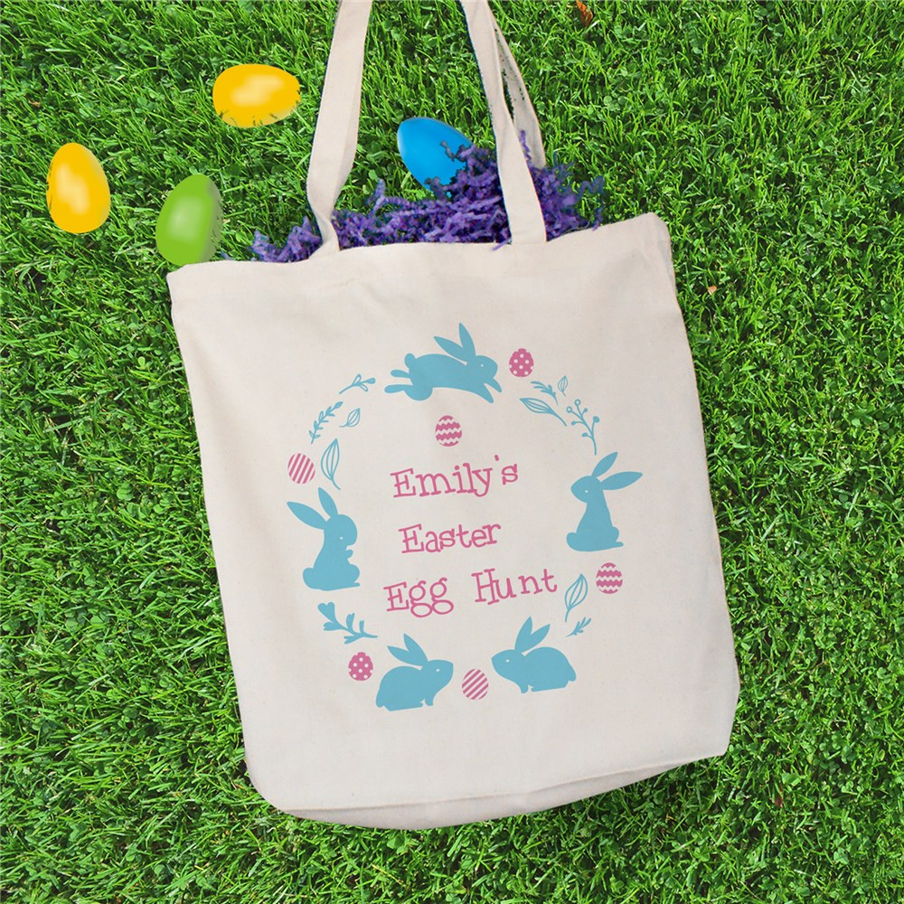Personalized Bunny Wreath Easter Tote 8125072