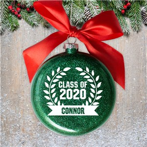Personalized Glass Graduation Wreath Ornament 81261612MM